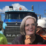Lucy Turnbull mask @ Haberfield protest, August 2016
